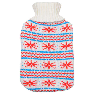 Fair Isle Stripes & Snowflakes - Large Hot Water Bottle With Beautiful Knitted Cover
