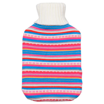Multi Coloured Stripes - Large Hot Water Bottle With Beautiful Knitted Cover