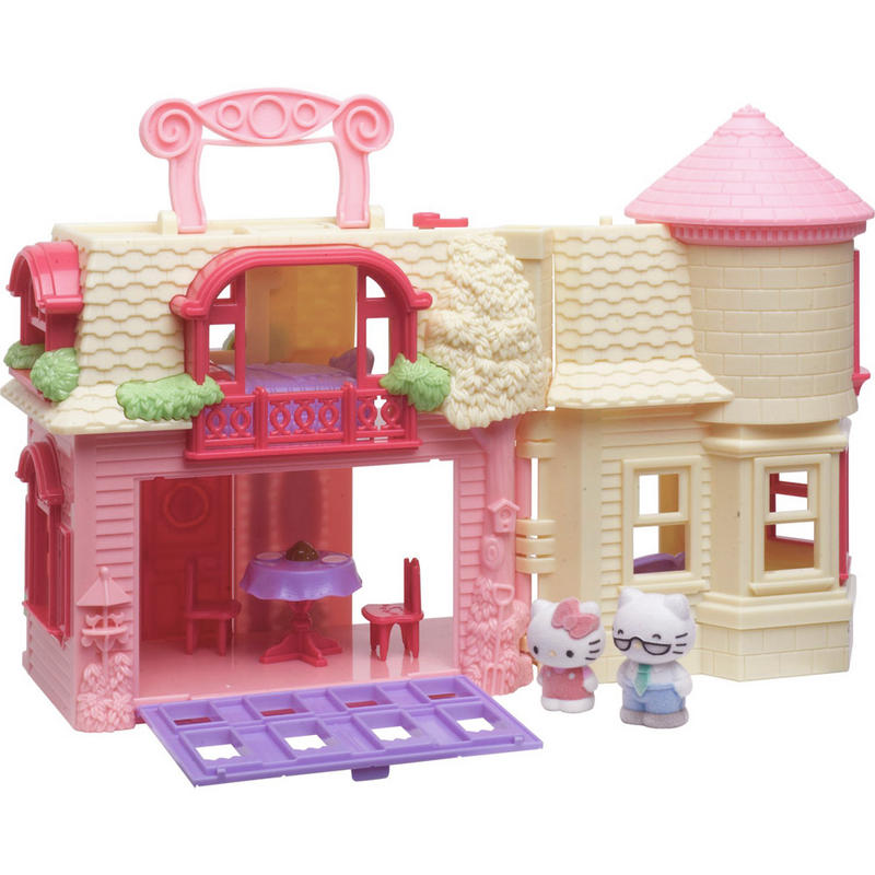 Hello Kitty Happy Home Play Set Fold Out Doll House With 4 Figures Furniture For Ages 4