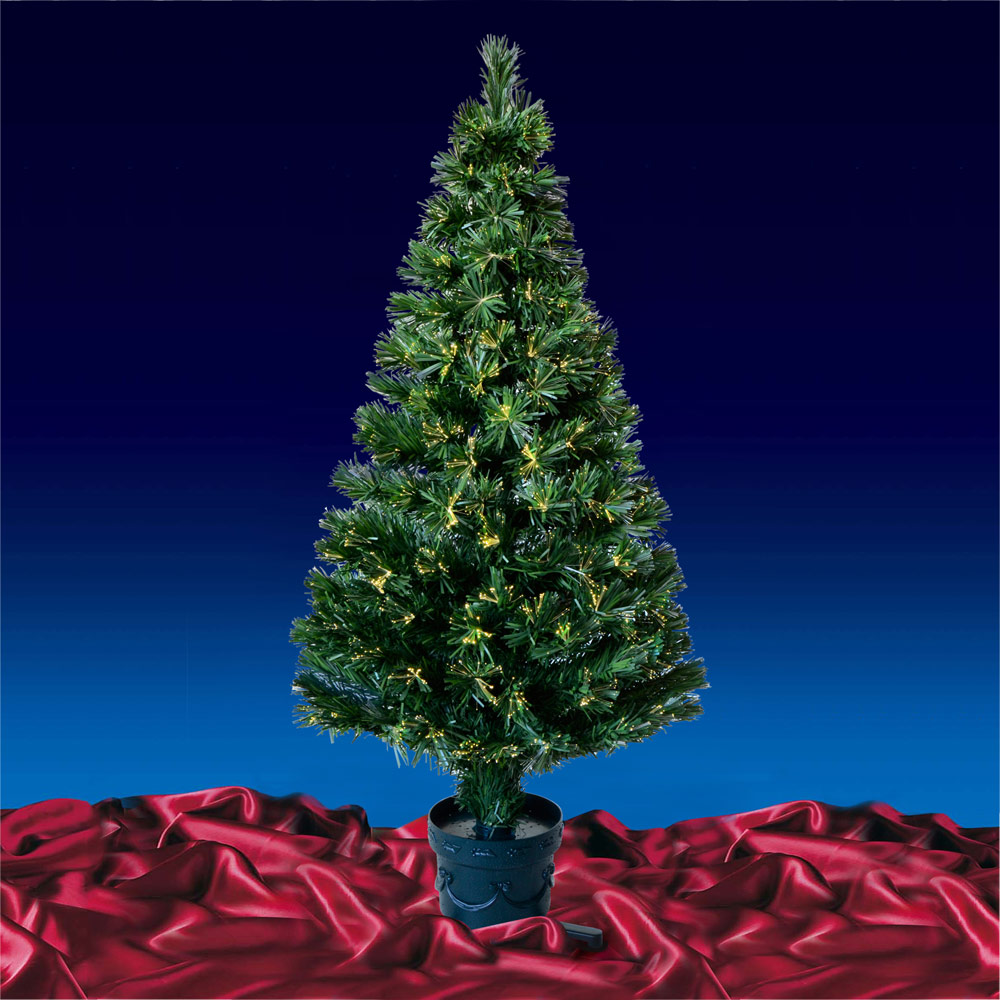 Festive 4ft 120cm Green Fibre Optic Open Burst Artificial Crimbo Christmas Tree