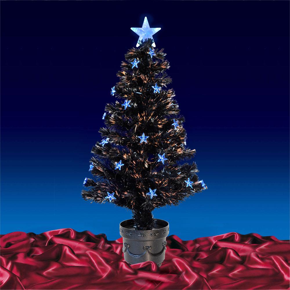 Festive 3ft 90cm Black Fibre Optic Crimbo Xmas Christmas Tree W/ Blue LED Stars