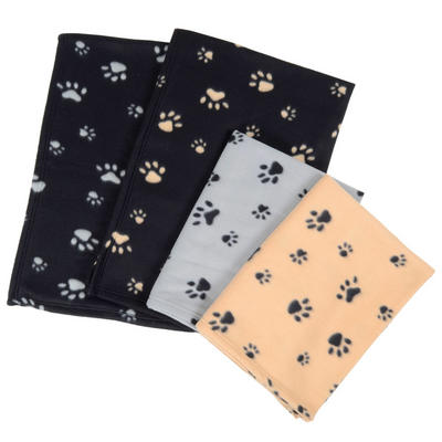 Small Fleece Paw Print Home Car Dog Cat Animal Pet Blanket 80 x 120cm