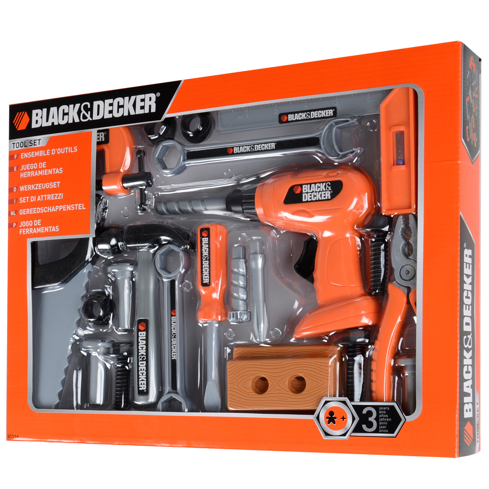 plastic toy black decker 24 piece tool set hammer screwdriver drill saw age 3 ebay. Black Bedroom Furniture Sets. Home Design Ideas