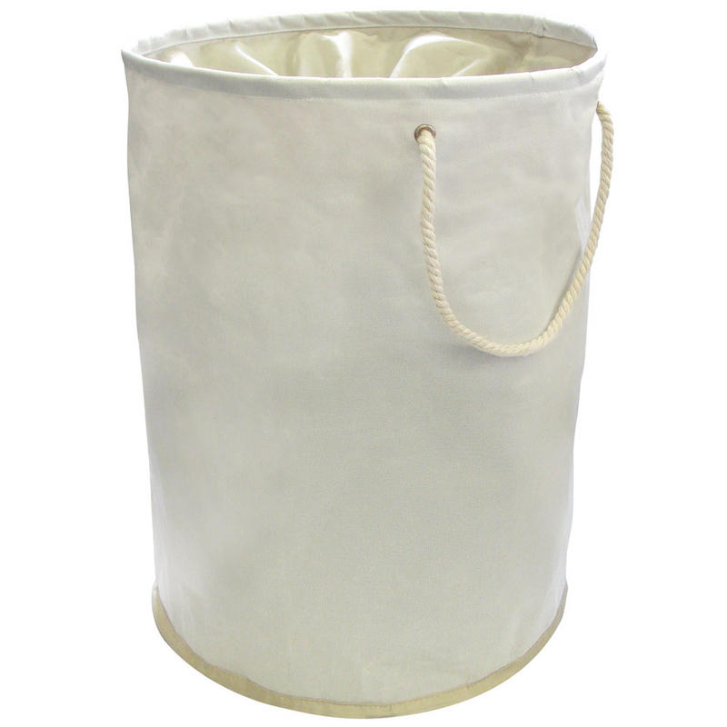 Cream Pop Up Laundry Hamper Washing Bag With Rope Carry