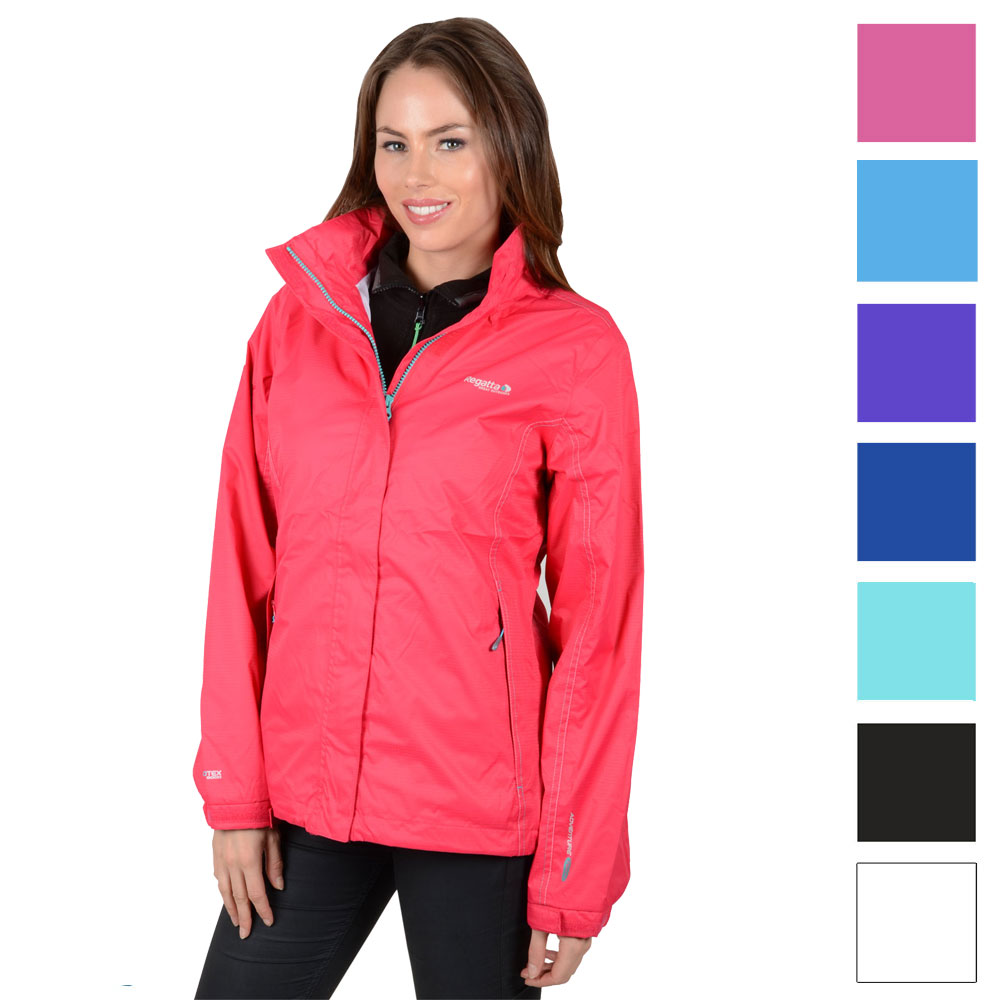 Regatta Ladies Lizette Hooded Outdoor Waterproof Jacket Rain Coat ...