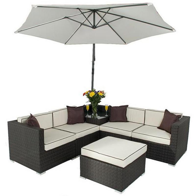 Seville corner sofa set with parasol rattan wicker garden furniture Garden corner sofa set