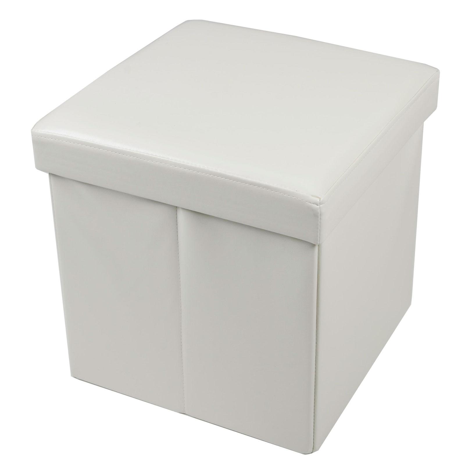 38cm Folding Storage Pouffe Cube Foot Stool Seat