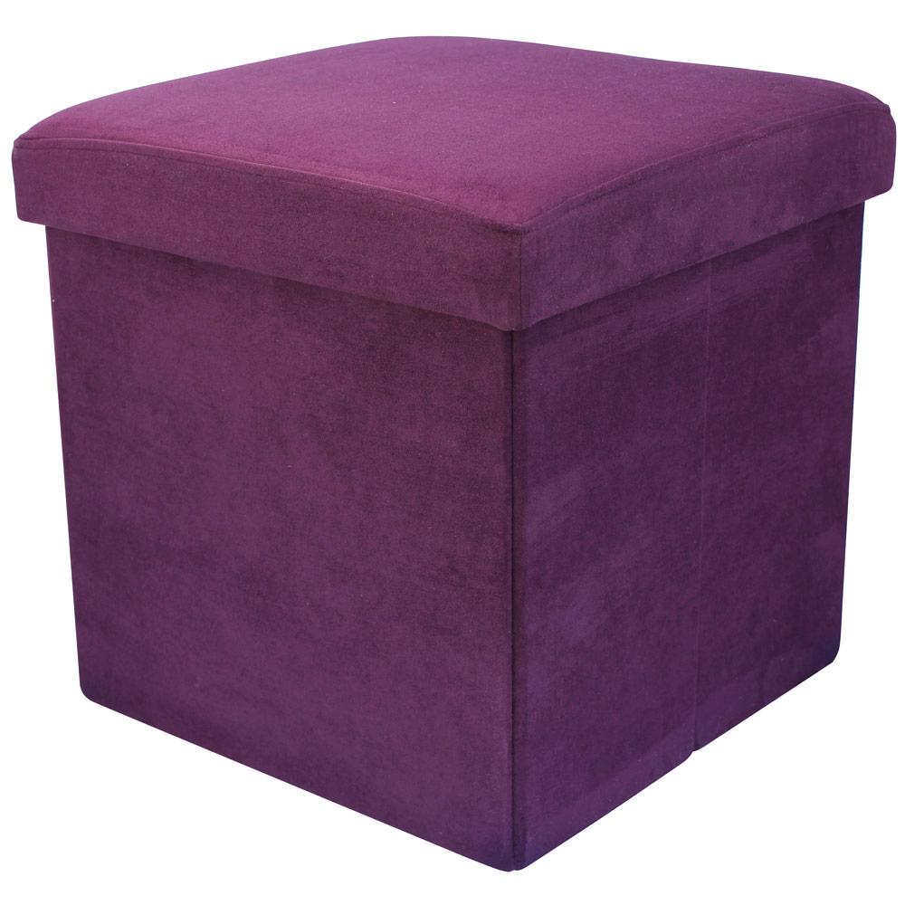 38cm Folding Storage Pouffe Cube Foot Stool Seat Ottoman