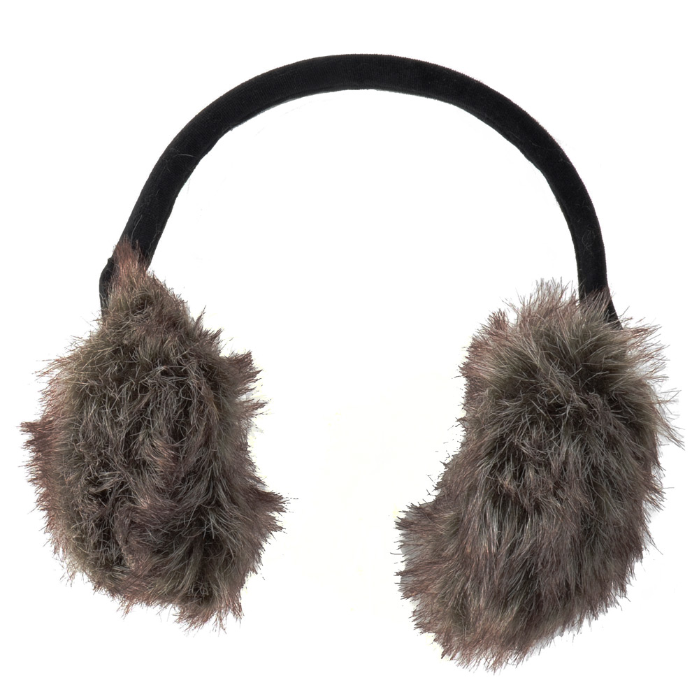 Ladies 2 Toned Faux Fur Ear Muffs With Flexible Black