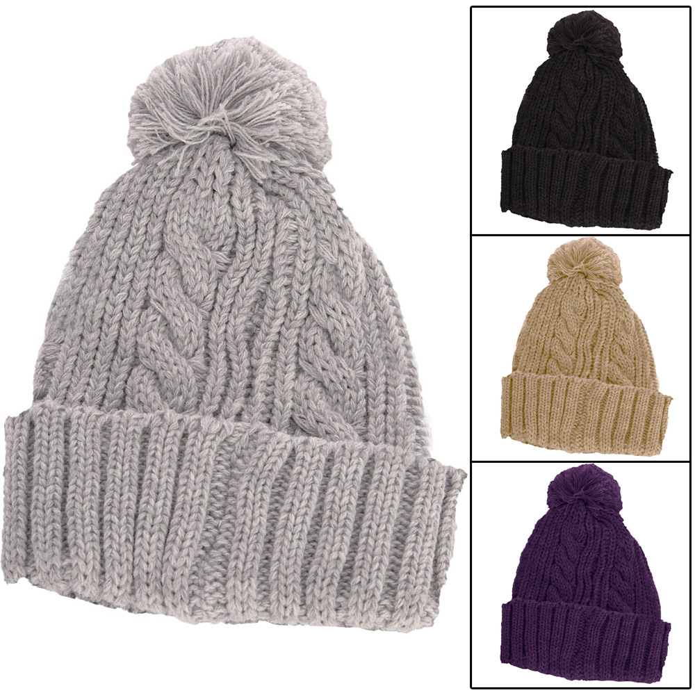 Stretch-Cable-Knit-Ski-Hat-With-Pom-Pom-Bobble-Biscuit-Beige-Grey-Purple-Black