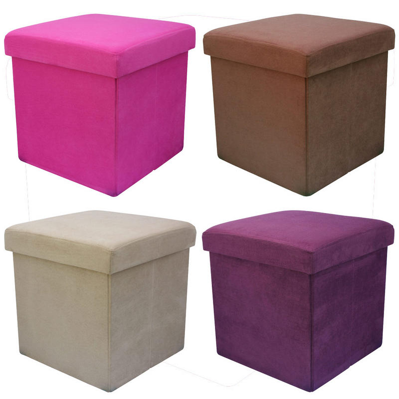Faux suede folding storage pouffe stool seat ottoman box for Storage ottoman seat