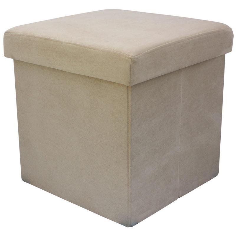 Faux Suede Folding Storage Pouffe Stool Seat Ottoman Box