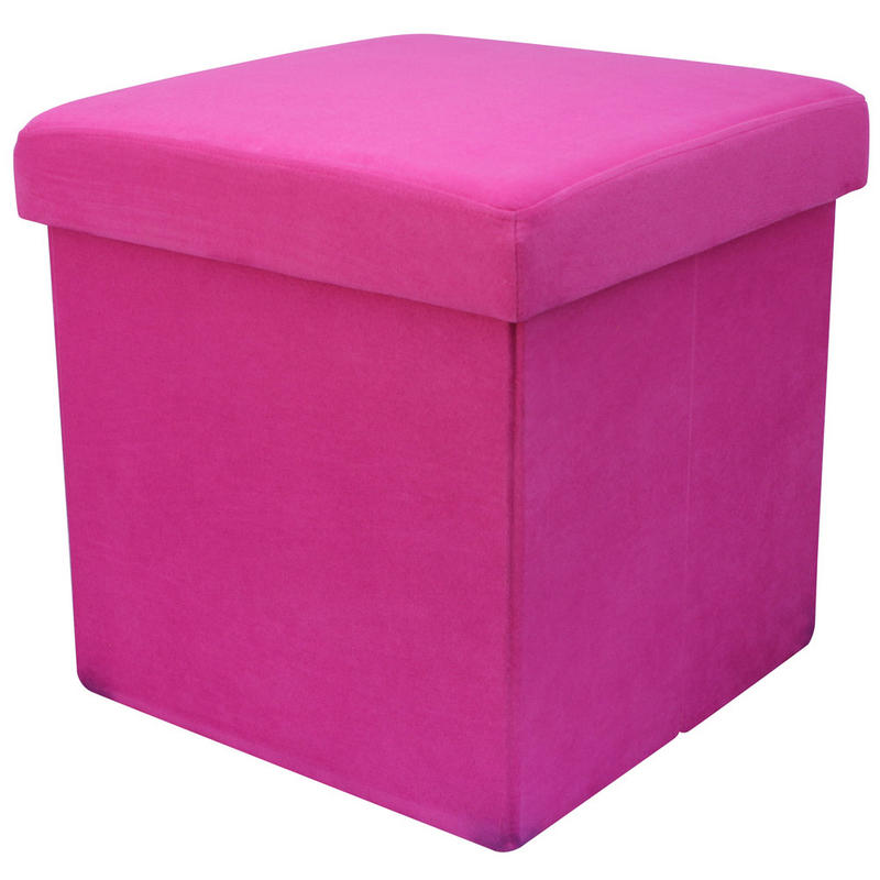 Faux Suede Folding Storage Pouffe Stool Seat Ottoman Box