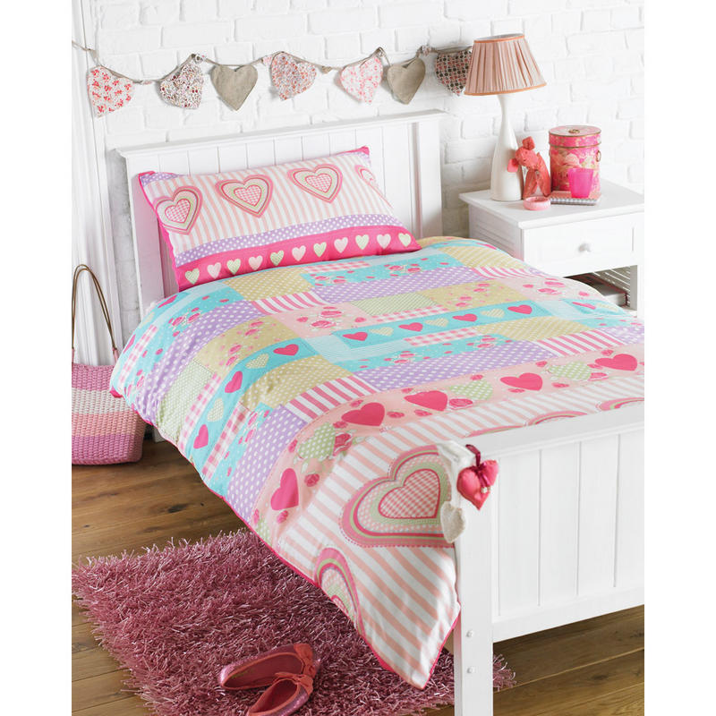 Girls Love Hearts Single Bedding Duvet Cover Pillowcase