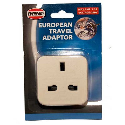 Eveready European Travel Adaptor Plug 250 Volts New