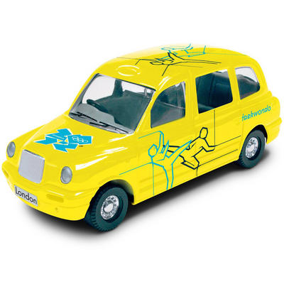 1:64 Die Cast Yellow Taxi With Olympic Logo Taekwondo #30 Destination London 2012