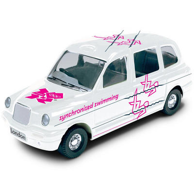 1:64 Die Cast White Taxi With Olympic Logo Swimming #31 Destination London 2012