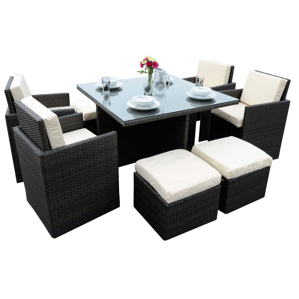 9 Piece Brown Rattan Wicker Cube Table Chair Footstool