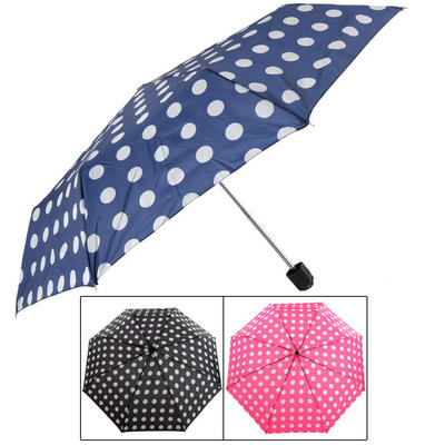 Ladies' Super Mini Umbrella With White Spots Print Black Navy Pink
