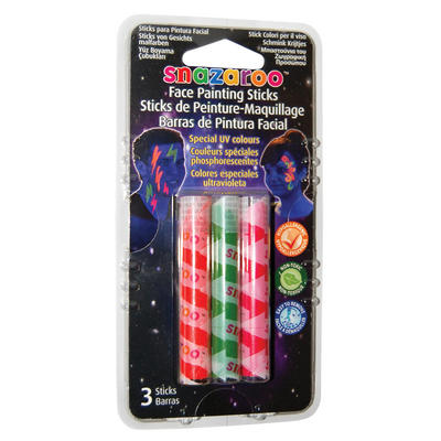 Face Painting Sticks UV Colours Green Red Orange Snazaroo Make Up Accessory