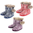 Womens Knitted Fairisle Bootie Slippers With Faux Fur Trim & Pompoms