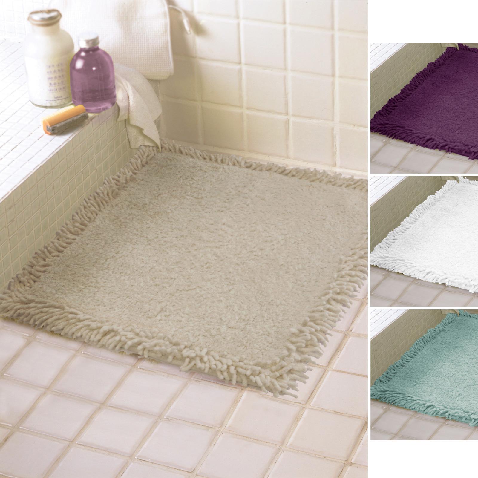 60cm X 60cm Shower Mat Floor Towel Bath Rug 100% Cotton Plum Aqua Stone White