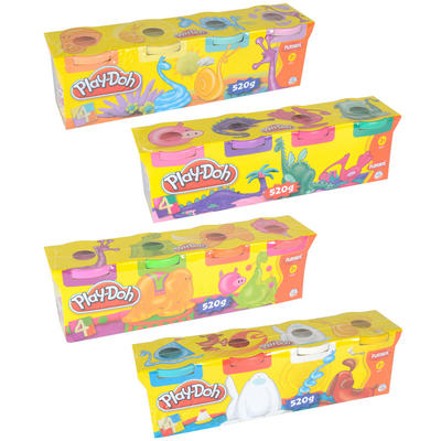 4 Pack Assorted Colours Play-Doh Non Toxic Modelling Compound New
