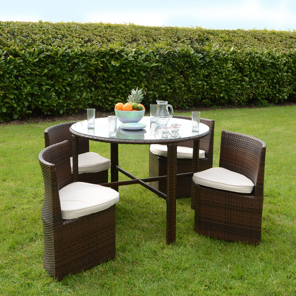 Rattan wicker dining garden furniture set round table for Outdoor patio table and chairs