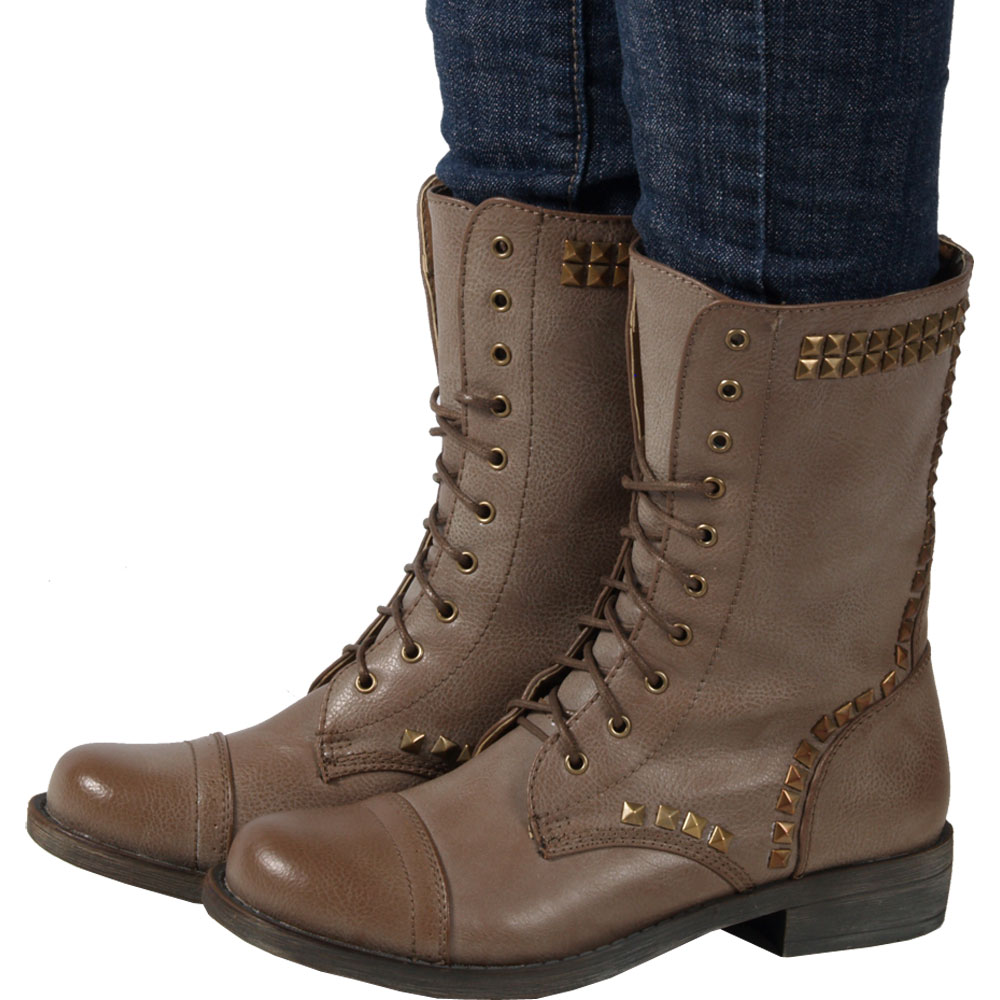 Tan Lace Up Flat Ankle Boots for Women