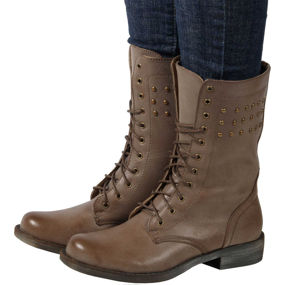 Amazing  Smart 1 Womens Military Lace Up Foldable Combat Boots TAN 65 Shoes