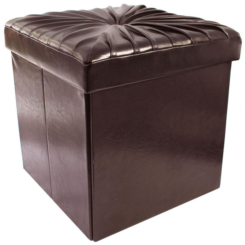 chocolate ruffle folding storage pouffe stool seat ottoman