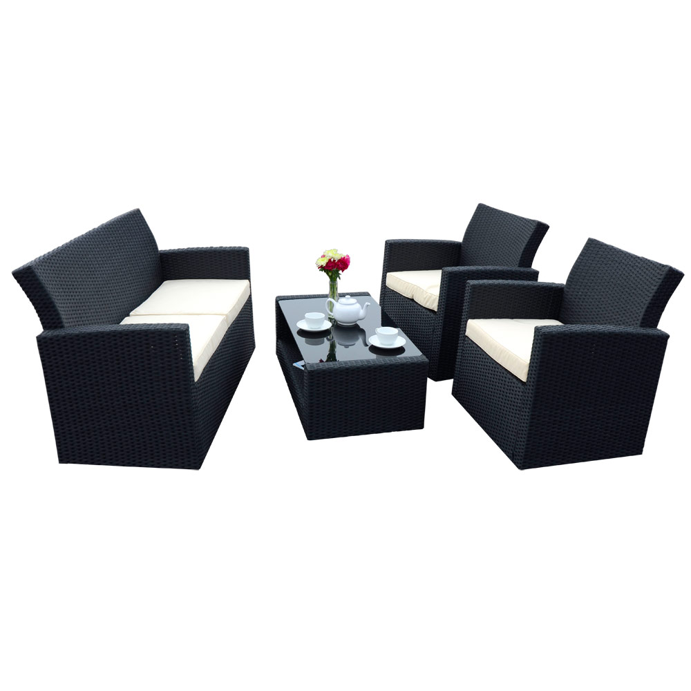 Black Tuscany Rattan Wicker Sofa Garden Conservatory Furniture Chairs Table Set Ebay