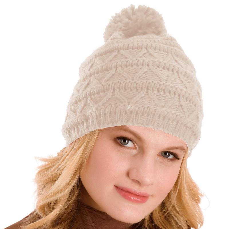 Ladies Knitted Pom Pom Bobble Hat Natural Beige Dark Brown Grey Red