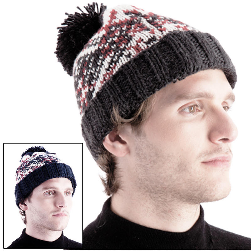 Knitting Pattern Ribbed Bobble Hat : Mens Chunky Knitted Beanie Hat With Pattern & Pom Pom ...