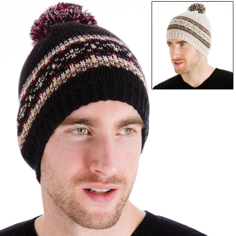 Knitting Pattern Mens Bobble Hat : Mens Knitted Beanie Hat With Fairisle Style Pattern & Pom ...