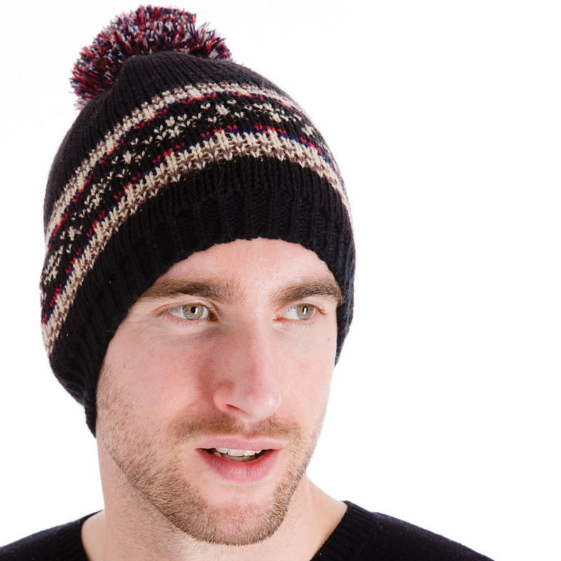 Mens Knitted Beanie Hat With Fairisle Style Pattern & Pom ...