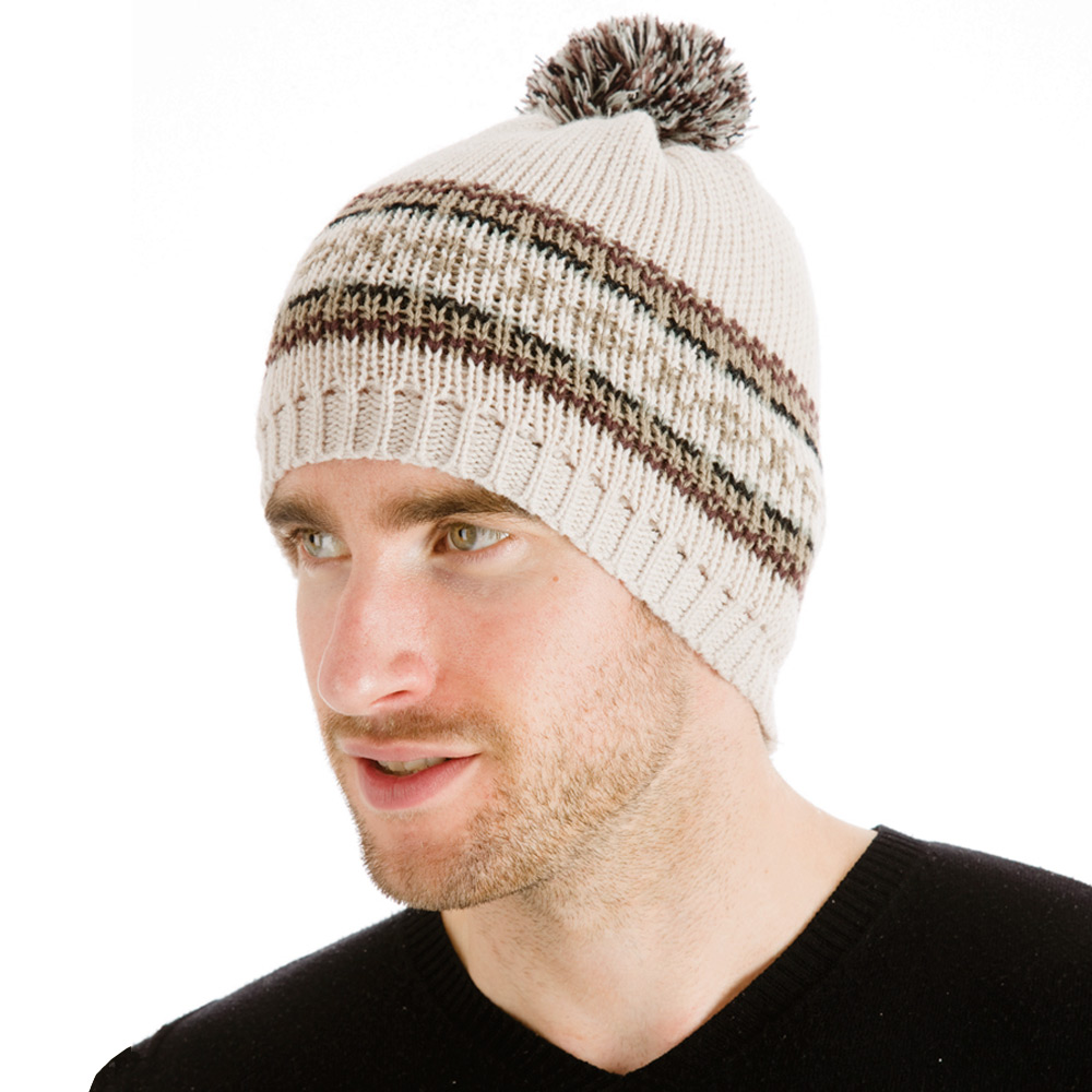 Babies Hats Knitting Patterns : Mens Knitted Fair Isle Style Beanie Slouch Hat With Pom Pom Bobble Beige...