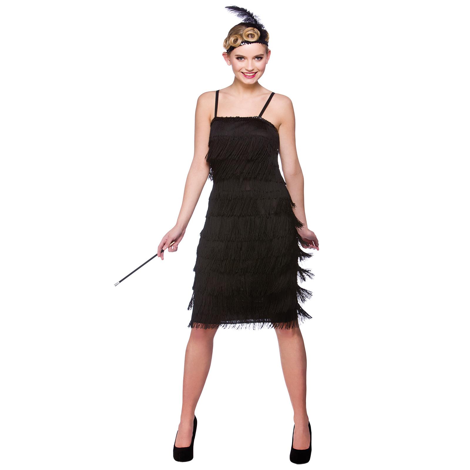 Womans Black Jazzy Flapper 1920's Jazz Halloween Fancy Dress Costume ...