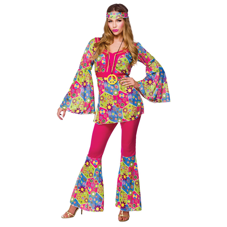 Feelin 39 Groovy Ladies Vintage 1960s Groovy Hippy Chick Fancy Dress Costume New Ebay