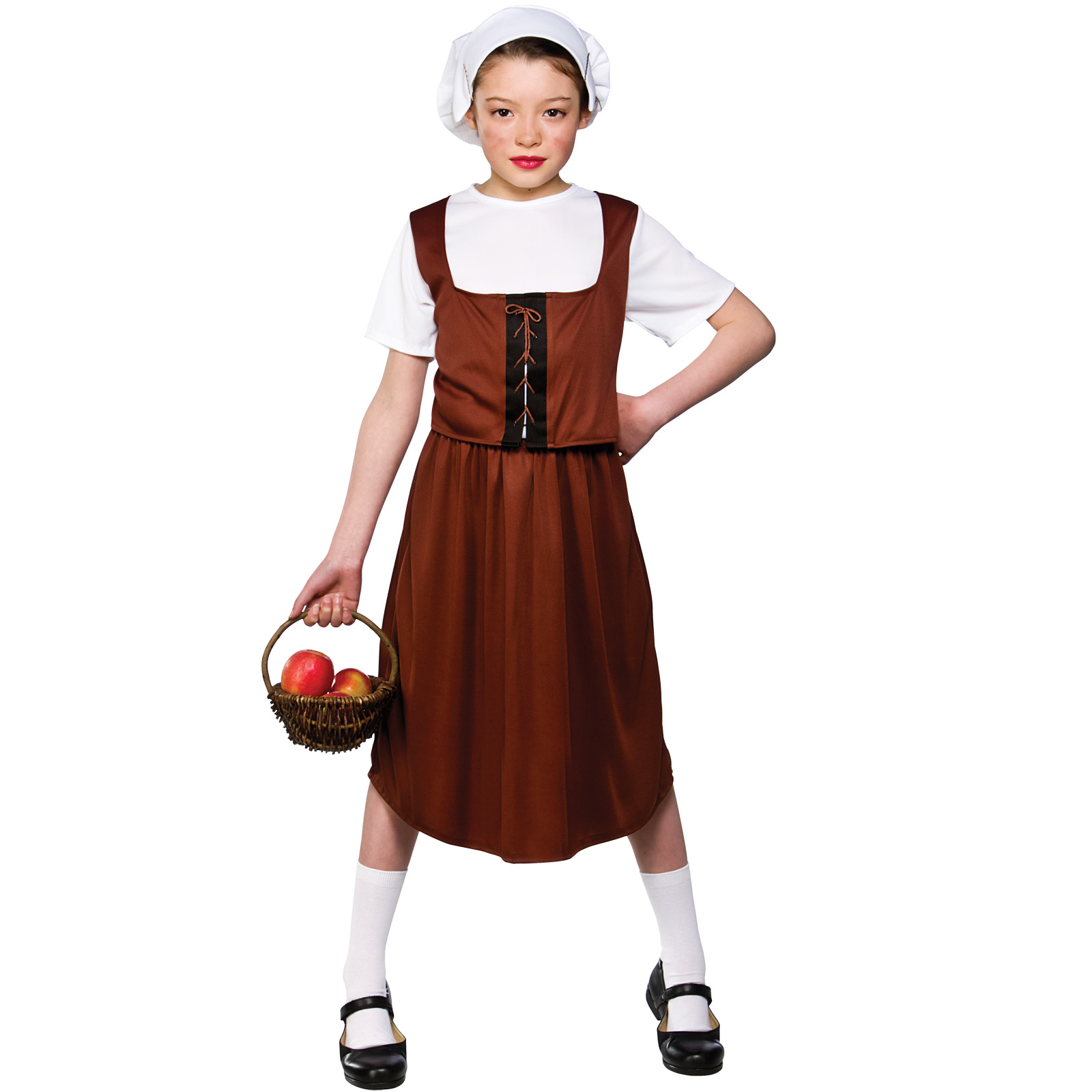 Girls-Tudor-Peasant-Girl-Costume-Fancy-Dress-Up-Party-Halloween-Outfit-Kid-Child