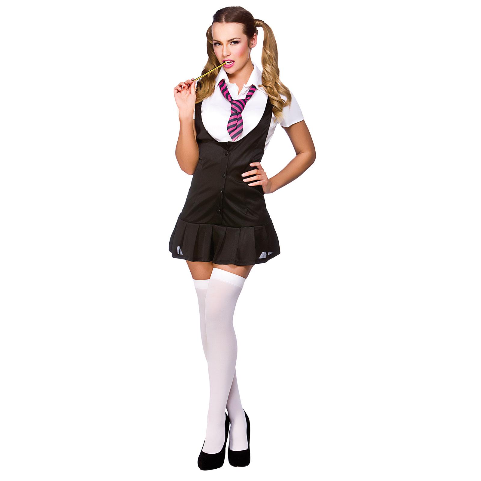 Adult Womens Naughty Sexy School Girl Uniform Halloween Fancy Dress Costume New