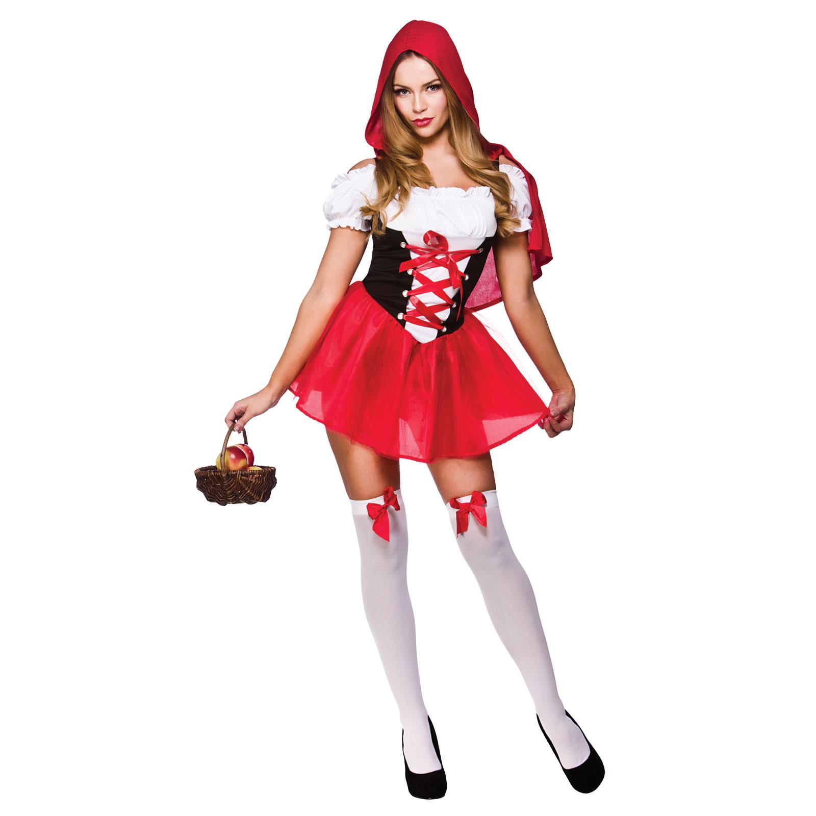Womens Little Red Riding Hood Fairytale Halloween Fancy Dress ...