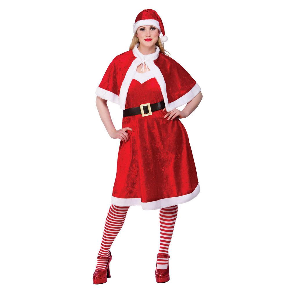 Ladies little miss santa clause fancy dress christmas
