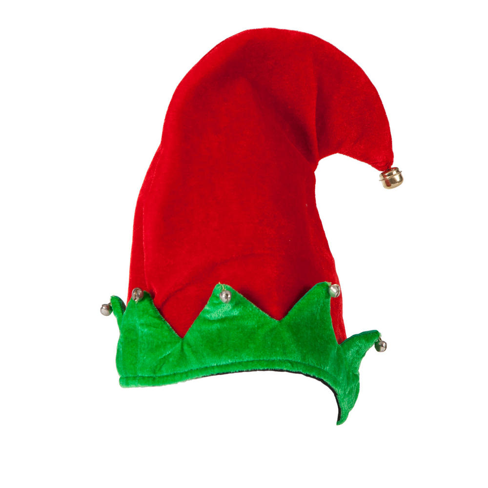 Deluxe Velvet Elf Hat With Bells Fancy Dress Christmas
