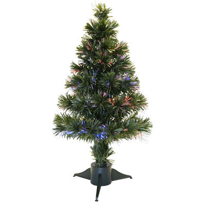 2ft 60cm Beautiful Green Christmas Tree With Multi Coloured Fibre Optics