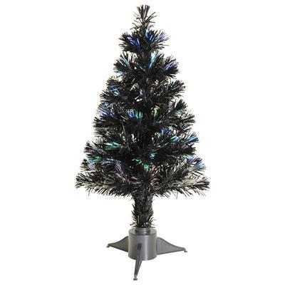 2ft 60cm Beautiful Black Christmas Tree With Multi Coloured Fibre Optics