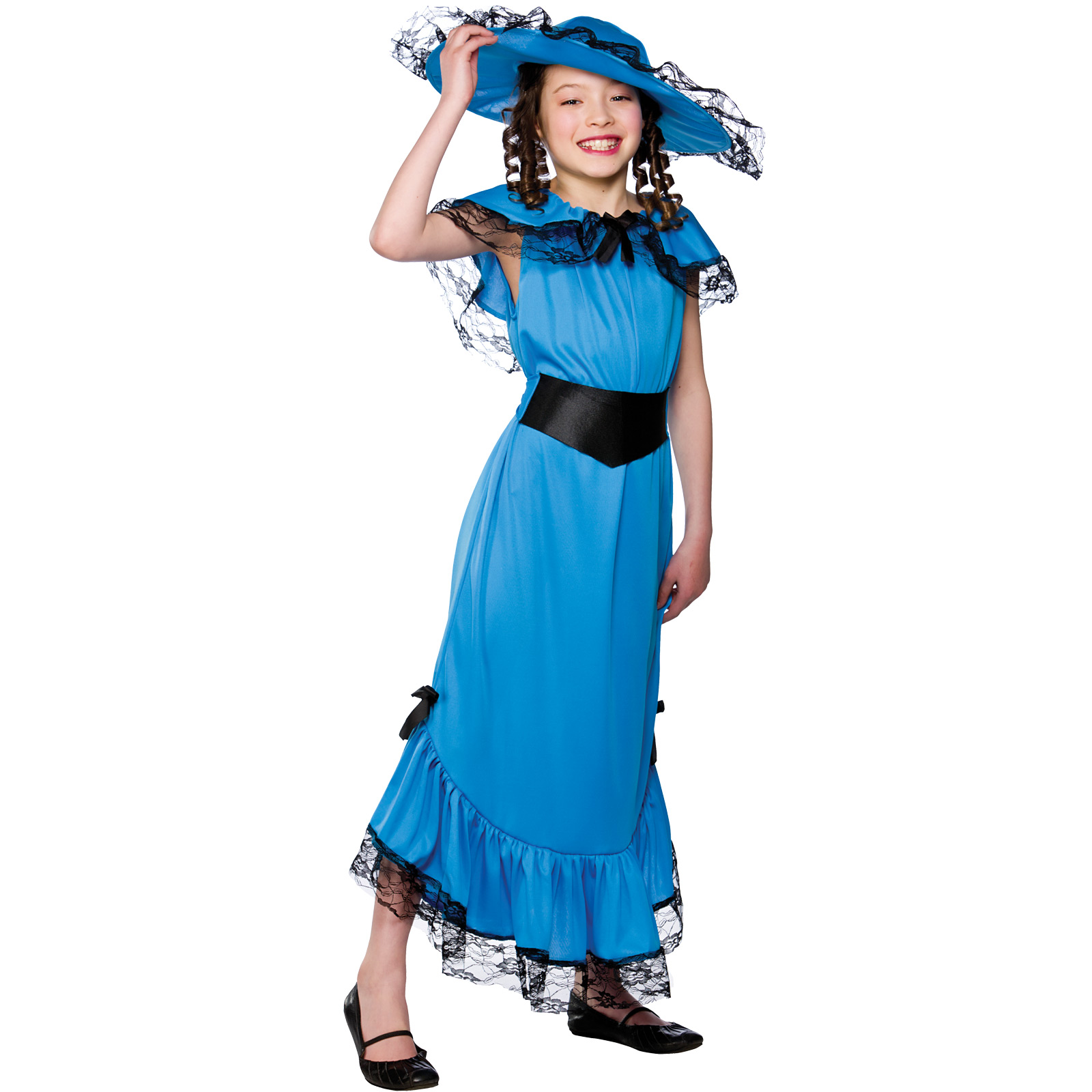 Girls Blue Victorian Lady Costume Fancy Dress Up Party Halloween Outfit Child