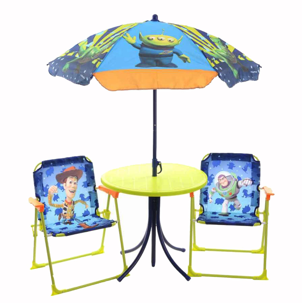 Toy Story Kids 4 Piece Garden Patio Furniture Set Table Parasol Folding Chair