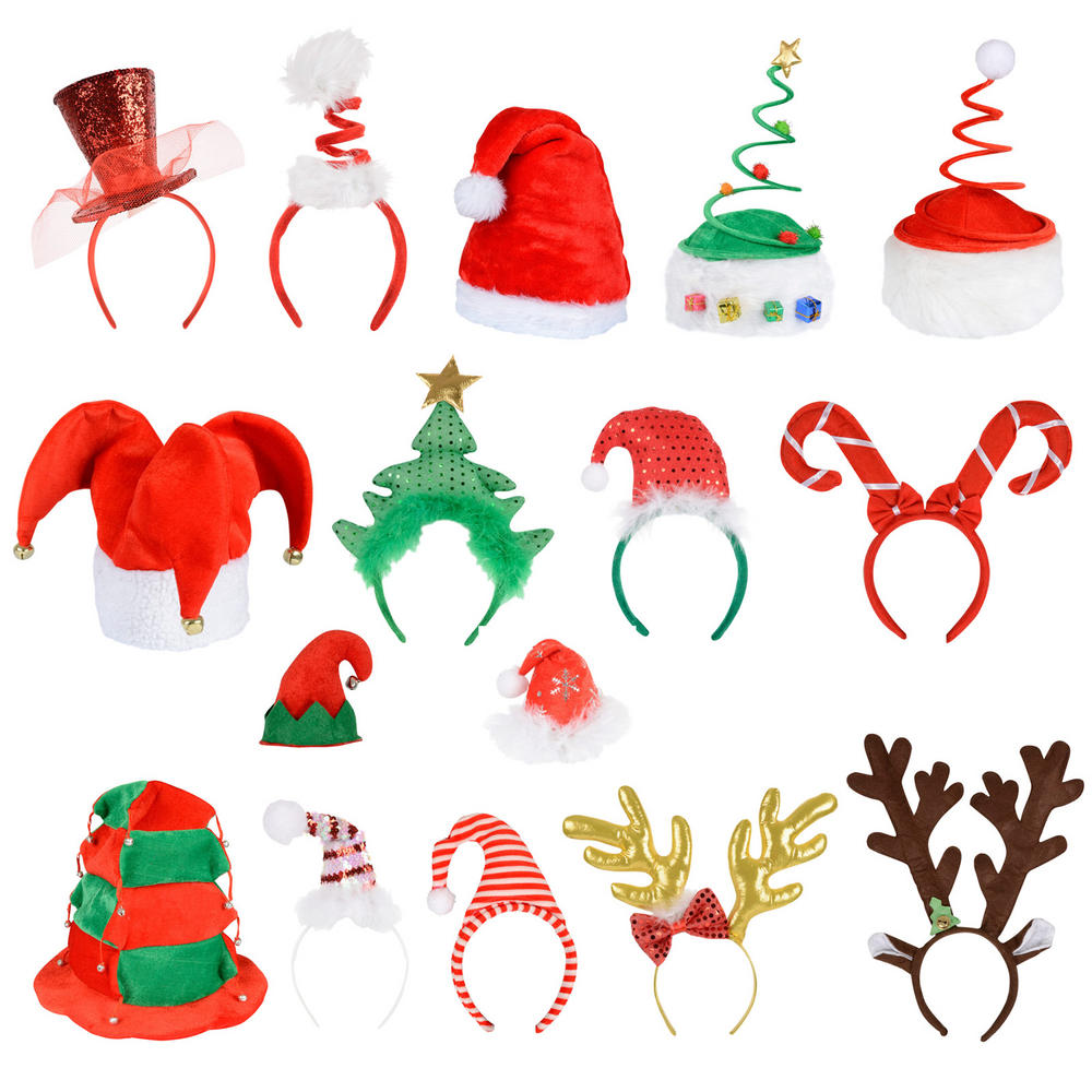 Festive christmas santa elf reindeer xmas hat headband for Christmas accessories