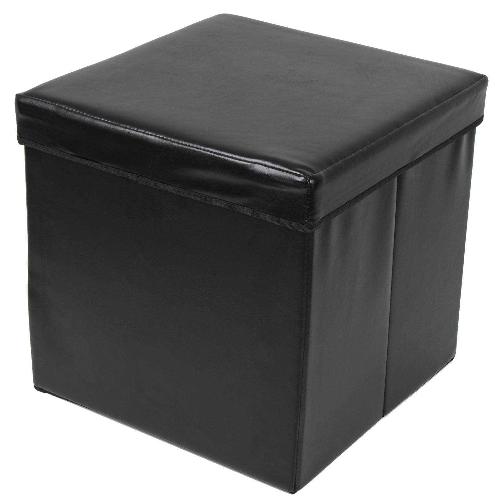 Ottoman large faux leather folding storage pouffe toy box for Foot storage ottoman